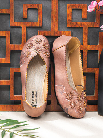Embroidered Flower Decoration Jagged Loafers Shoes