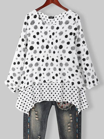 T-shirt asimmetrica patchwork con stampa a pois