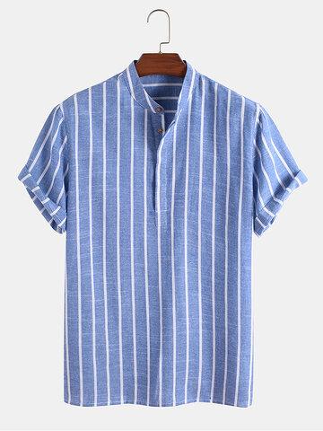 Lässiges Henley-Hemd aus Baumwolle mit Streifen