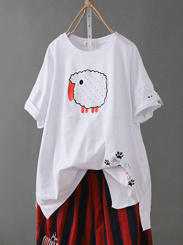 Cartoon Embroidery Casual T-shirt