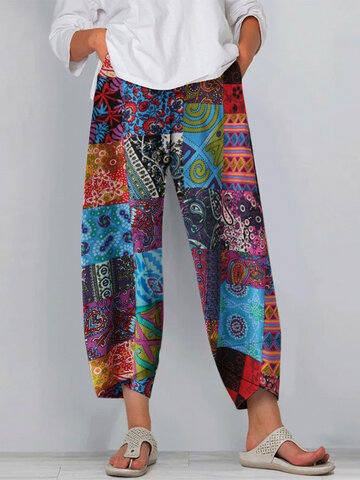 Ethnic Print Casual Pants