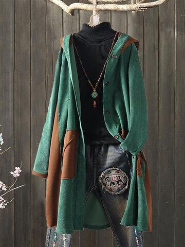 Corduroy Patchwork Hooded Long Coat