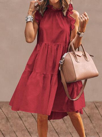 Ruffled Collar Sleeveless Pleated Dress