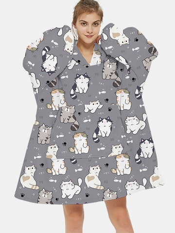Cute Cat Thicken Oversized Blanket Hoodie