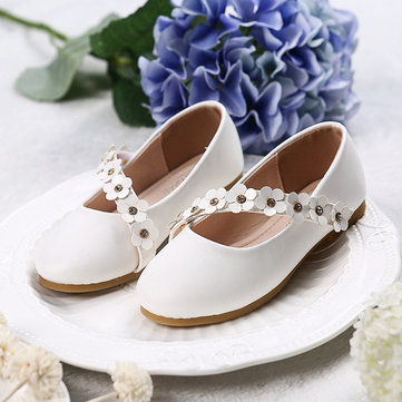 Girls Solid Color Flowers Princess Shoes