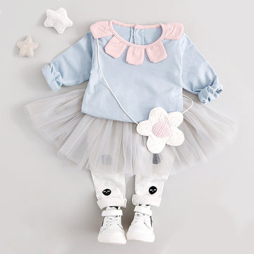 Flower Collar Girls Set For 0-24M