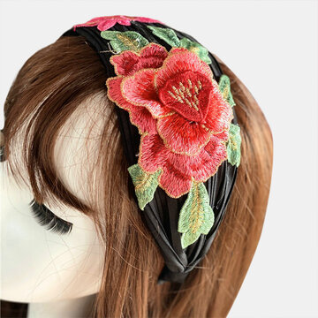 Embroidered Printed Headband Vintage Floral Ethnic