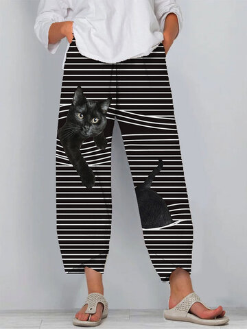Black Cat Print Striped Patchwork Pants