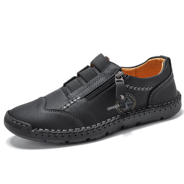 Menico Men Microfiber Leather Hand Stitching Shoes