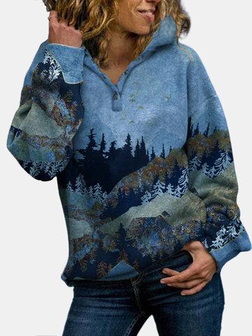 Landscape Printed Long Sleeve Hoodie