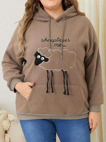Fluffy Sheep Print Hoodie