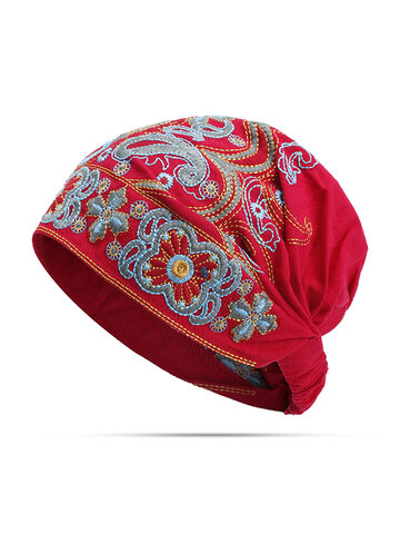 Embroidery Ethnic Cotton Beanie Hat