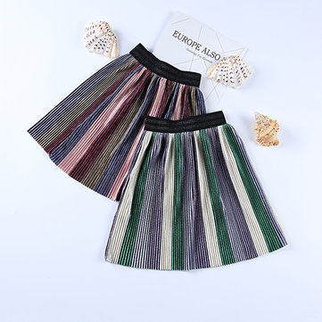 Pleated Girls Striped Skirt For 2Y-9Y