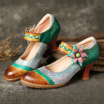 Floral Hook Loop Leather Pumps