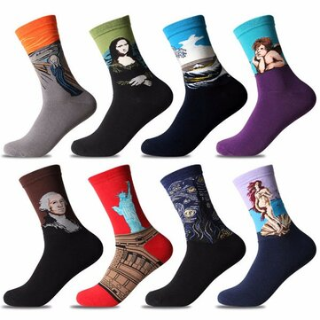Men Oil Painting Cotton Socks Retro Harajuku Street Graffiti Personality Art Abstract High Ankle Socks