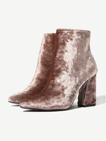 Shiny  Block Zipper Ankle Boots