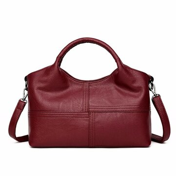 Women Soft Leather Handbags Stitching Solid Shoulder Bags