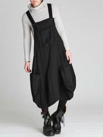 newchic / Vintage Pockets Straps Dress