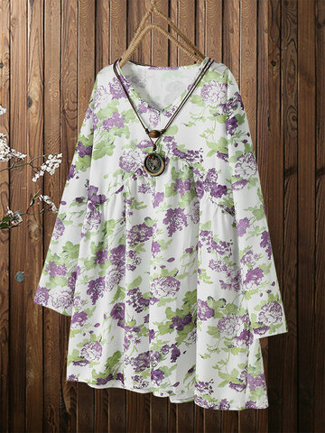 Floral Print Pleated Blouse Dress