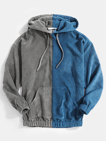 Mens Corduroy Two Tone Patchwork Loose Casual Kangaroo Pocket Drawstring Hoodies