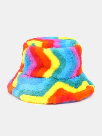 Unisex Rainbow Color Striped Bucket Hat