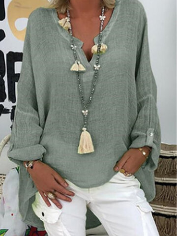 Solid Color Loose Blouse