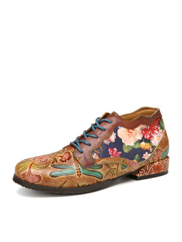 SOCOFY Natural Flowers Pattern Stitching Cowhide Leather Comfy Lace Up Flat Shoes Loafers