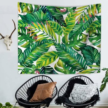 Green Leaves Tapestry Tropical Plant Wall Hanging Home Decor