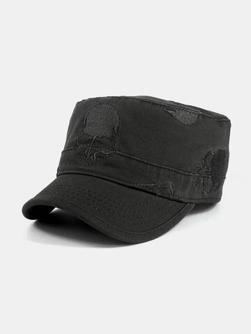 Skull Embroidery Flat Cap Men's Military Cap