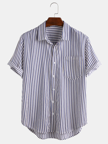 Mens Stripe Printed Short Sleeve Shirts