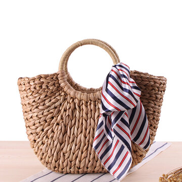 Straw Hairball Tassel Summer Beach Bag Handbag For Women
