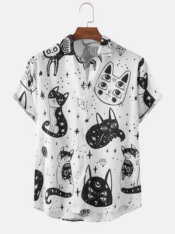 Funny Abstract Cat Print Shirts