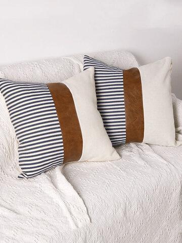 1PC Canvas Stitching Stripes Creative Nordic Home Sofa Couch Car Bed Decorative Cushion Pillowcase Throw Cushion Cover