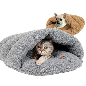 2 Colors Shearling Velvet Pet Slipper Sleeping Bag Kennel