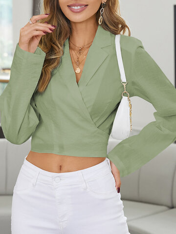 Solid Color V-neck Knotted Blouse