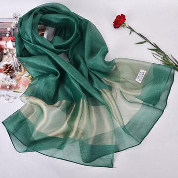 Women Pretty Thin Soft Silky Silk Scarf Beach Casual Sunscreen Breathable Shawl
