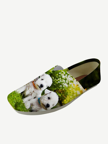 Square Toe Canvas Loafers Shoes