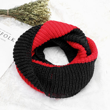 Warm Solid Patchwork Knitted Collar Scarf Shawls, Blue red deep grey yellow black