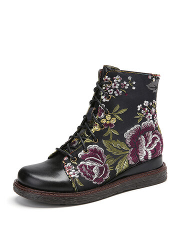 Elegant Flower Embroidery Genuine Leather Ankle Boots