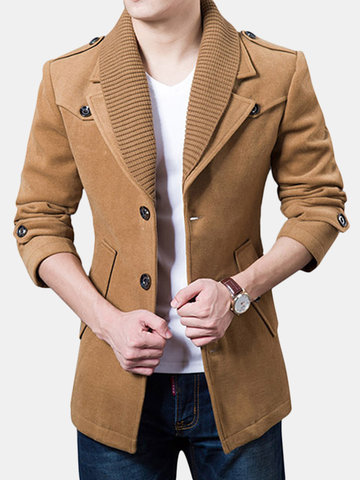Outono Inverno Mens Casual Jacket Turndown Collar Único Breasted Cor Sólida Trench Coat