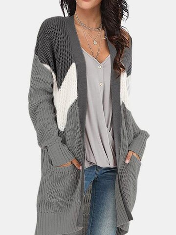 Casual Patchwork Pockets Cardigan