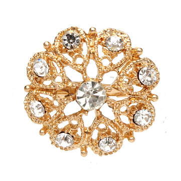 Alloy Gold Rhinestone Crystal Brooches