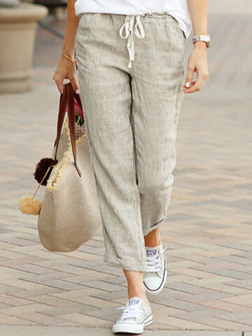 Solid Color Casual Drawstring Pants
