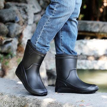Men Slip Resistant Mid Calf Rain Boots