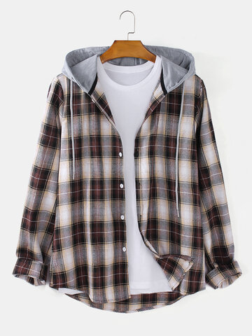 Plaid Button Up Hooded Shirts