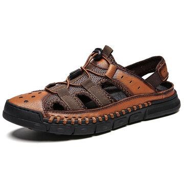 Men Non Slip  Splicing Soft Leather Sandals