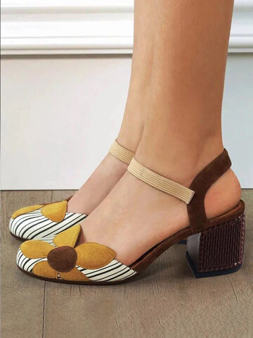 Flowers Striped Color Contrast Heeled Sandals