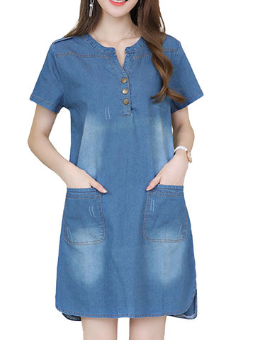 Casual Button Front Packet Long Denim Dress