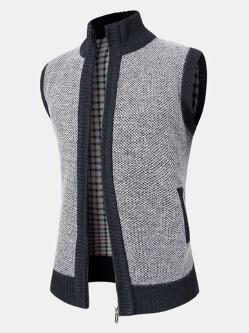 Knit Zip Front Thick Sleevless Vests
