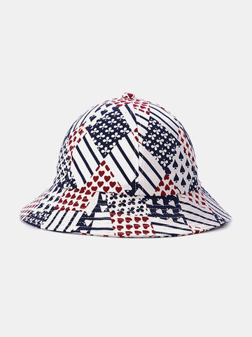 Unisex Cotton Poker Striped Bucket Hat